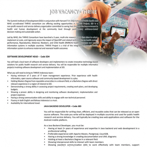 Job Vacancy – THRIVE Indonesia Project